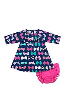 Infant Girls Navy Bow Dress Set