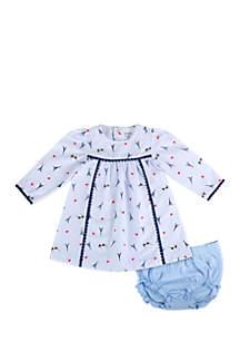 Infant Girls Blue Printed Dress Set