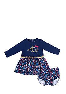 Infant Girls Oh LaLa Print Dress Set