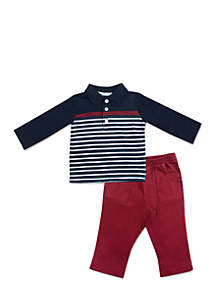 Baby Boys Navy Red Polo Stripe Set