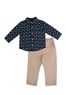 Toddler Boys Navy Multi Print Set