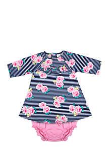 Infant Girls Stripe Floral Jersey Dress Set
