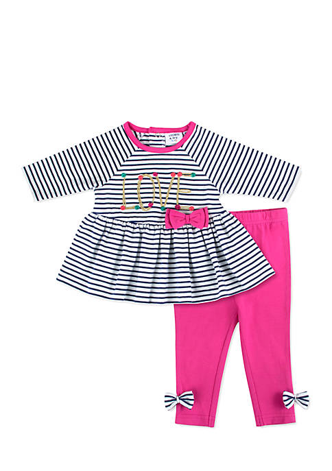 Crown & Ivy™ Baby Girls Love Stripe Legging