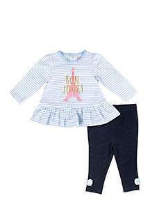 Infant Girls Blue Bon Jour Peplum Set