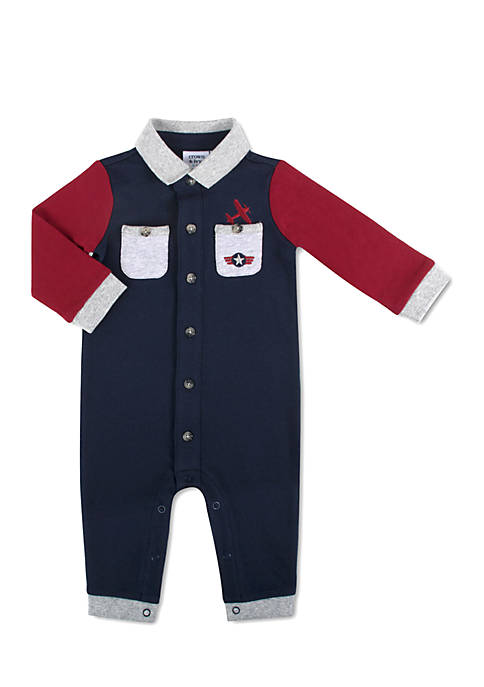 Crown & Ivy™ Infant Boys Navy Pocket Coverall