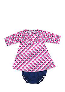 Infant Girls Pink Print Jersey Dress Set