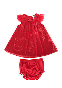 Baby Girls Red Mesh Overlay Dress