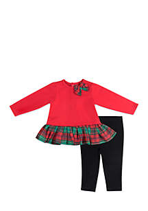 Baby Girls Red Plaid Tunic Set