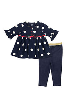 Baby Girls Dot Denim Set