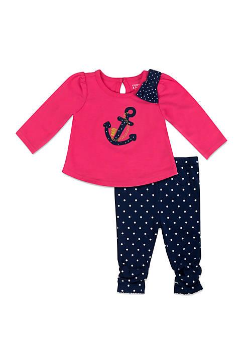 Baby Girls Pink and Navy Anchor Dot Set