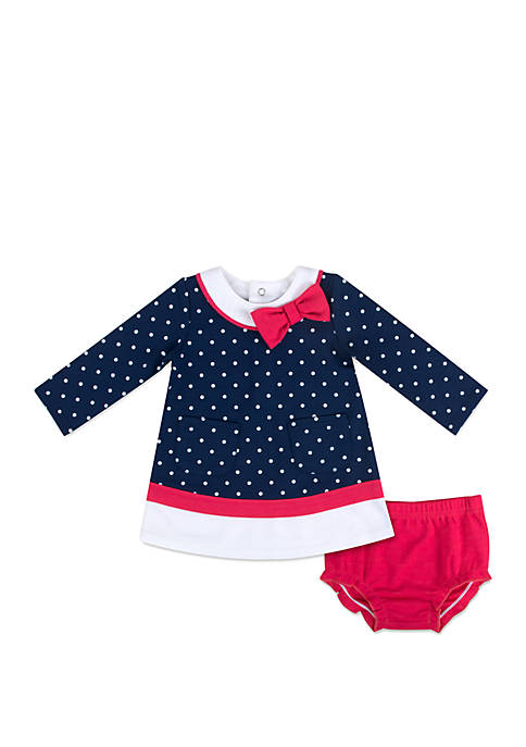 Crown & Ivy™ Baby Girls Dot Bow Dress