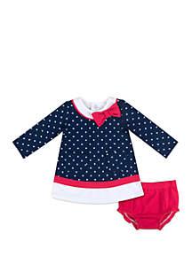 Crown & Ivy™ Baby Girls Dot Bow Dress Set