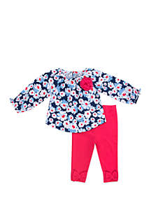 Baby Girls Flower Top Pink Legging 2-Piece Set