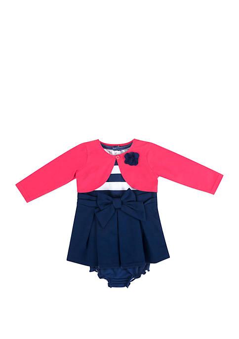 Crown & Ivy™ Baby Girls White Dress Pink