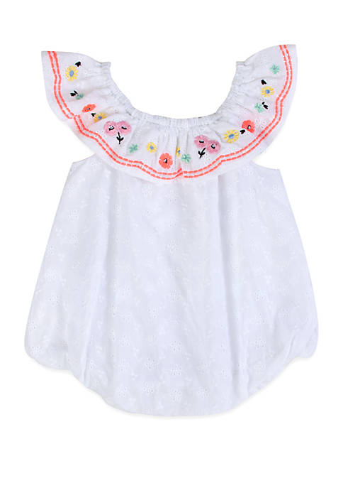Crown & Ivy™ Baby Girls White Eyelet Bubble