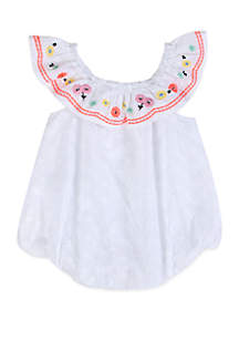 Crown & Ivy™ Baby Girls White Eyelet Bubble Romper