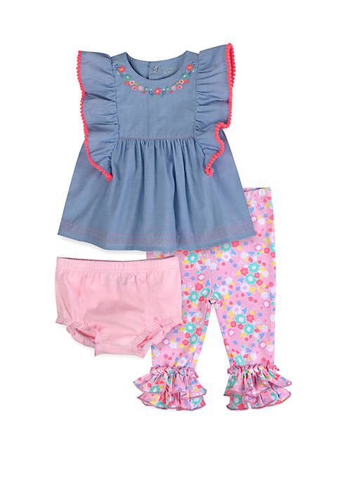 Crown & Ivy™ Baby Girls Pink Chambray 3
