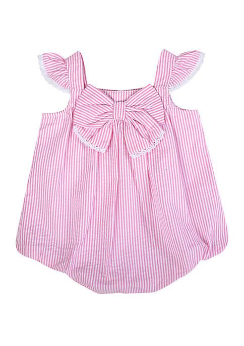 Crown & Ivy™ Baby Girls Pink Seersucker Bubble