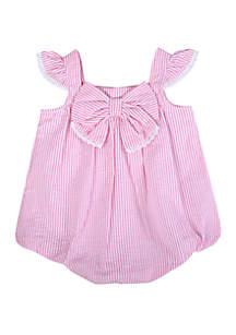 Crown & Ivy™ Baby Girls Pink Seersucker Bubble Romper