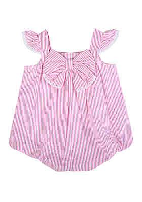 df74214d359e Crown & Ivy™ Baby Girls Pink Seersucker Bubble Romper ...
