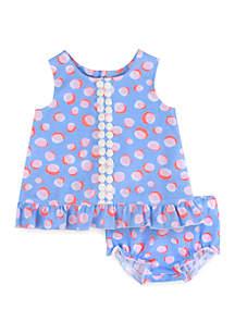 Crown & Ivy™ Baby Girls Periwinkle Pink Dot 2 Piece Set