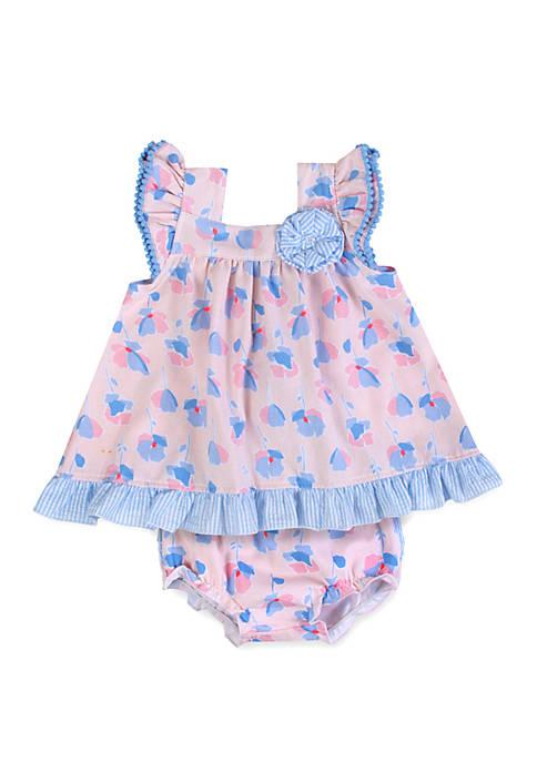 Crown & Ivy™ Baby Girls Pink Periwinkle Floral