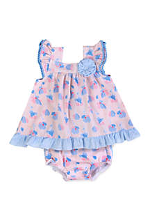 Crown & Ivy™ Baby Girls Pink Periwinkle Floral Seersucker Dress Set