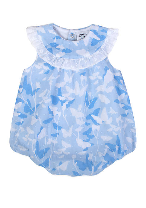 Baby Girls Blue Printed Swiss Dot Bubble Romper