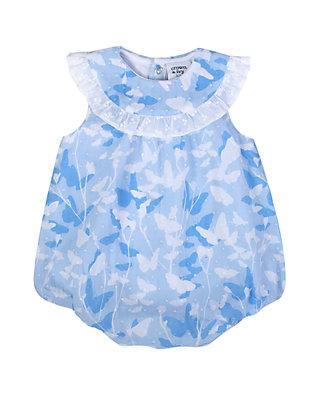 b12243430 Crown & Ivy™. Crown & Ivy™ Baby Girls Blue Printed Swiss Dot Bubble Romper