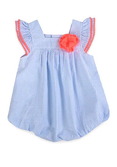 Baby Girls Blue Seersucker Bubble Romper