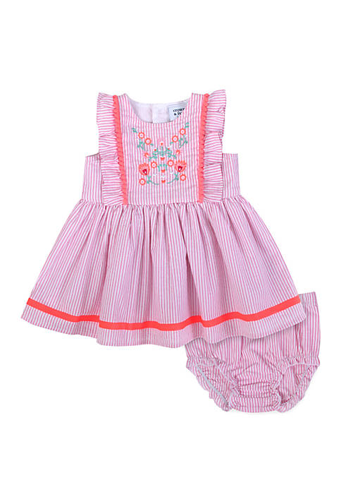 Baby Girls Pink Seersucker Dress Set