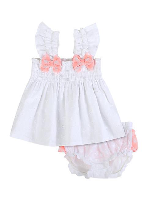 Crown & Ivy™ Baby Girls White Seersucker Eyelet