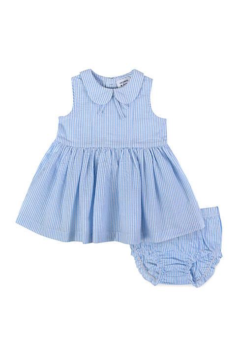Baby Girls Blue Seersucker Dress Set