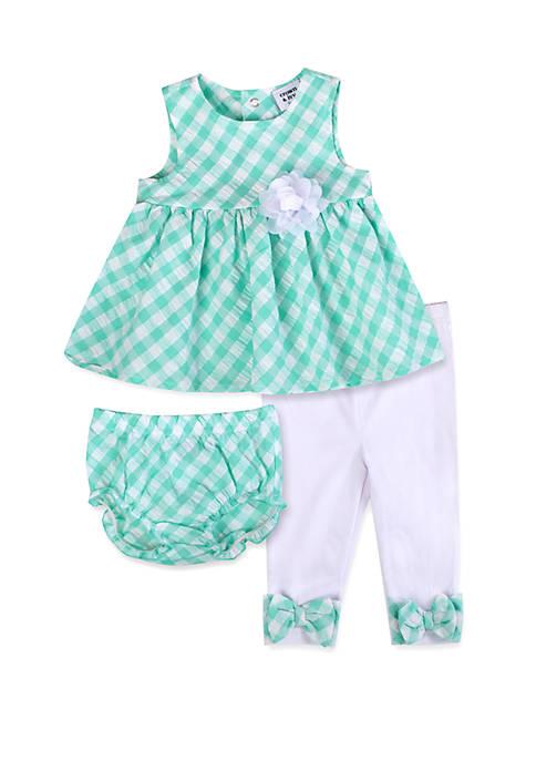 Baby Girls Green White Gingham 3 Piece Set
