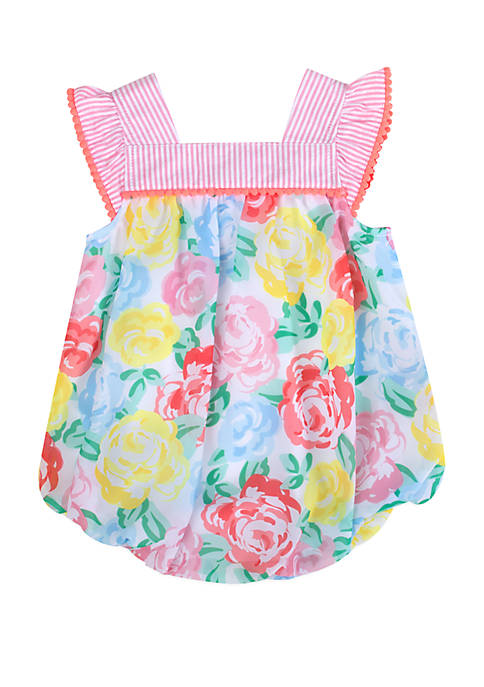 Baby Girls Floral Bubble Romper