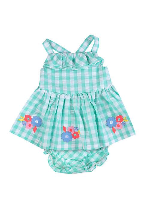 Crown & Ivy™ Baby Girls Green Gingham Dress