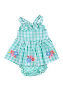 Crown & Ivy™ Baby Girls Green Gingham Dress Set