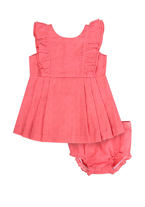 Crown & Ivy™ Baby Girls Pink Eyelet Dress