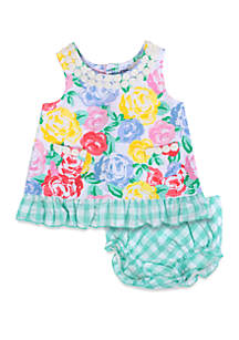 Crown & Ivy™ Baby Girls Green Gingham Mixed Floral Dress Set