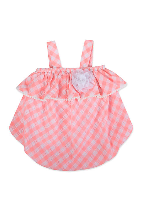 Baby Girls Pink Gingham Bubble Romper