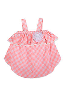 Crown & Ivy™ Baby Girls Pink Gingham Bubble Romper
