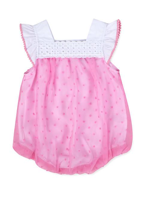 Crown & Ivy™ Baby Girls Swiss Dot Bubble