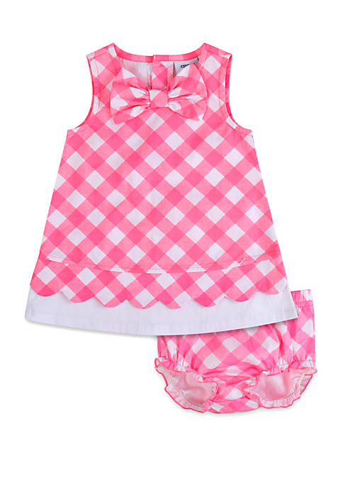 Baby Girls Gingham Dress with Diaper Cover