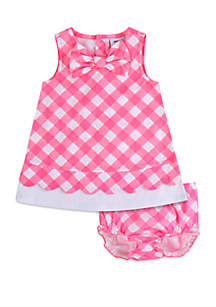 Crown & Ivy™ Baby Girls Gingham Dress with Diaper Cover