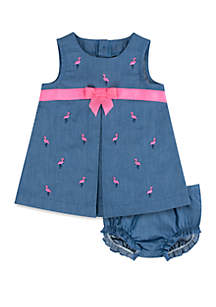 Crown & Ivy™ Baby Girls Chambray Flamingo Dress