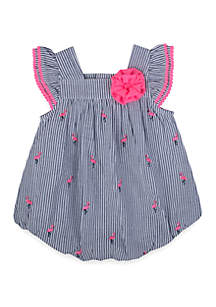 Crown & Ivy™ Baby Girls Flamingo Bubble Dress