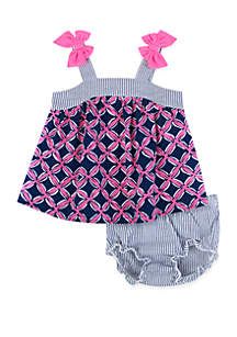 Crown & Ivy™ Baby Girls Printed Dress and Diaper Cover Set