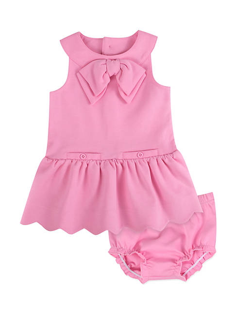 Baby Girls Ponte Dress and Diaper Cover Set