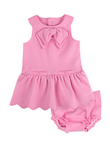 Crown & Ivy™ Baby Girls Ponte Dress and Diaper Cover Set
