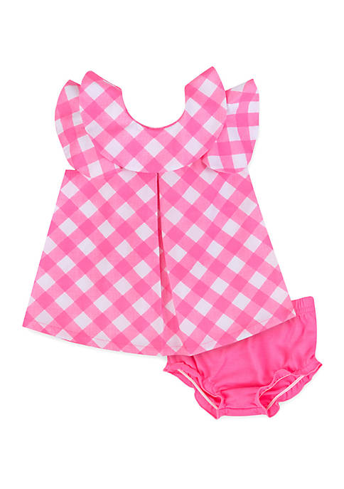 Baby Girls Woven Gingham Dress and Diaper Cover Set